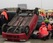 intervention sur accident routier pompiers français et belges